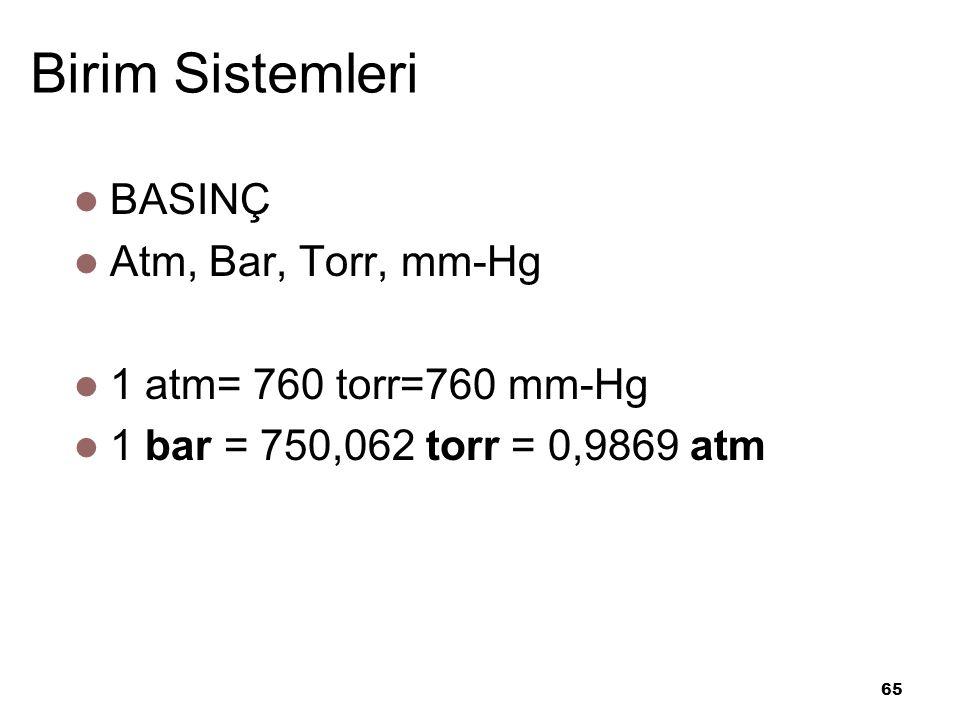 65 Birim Sistemleri BASINÇ Atm, Bar, Torr, mm-Hg 1 atm= 760 torr=760 mm-Hg 1 bar = 750,062 torr = 0,9869 atm