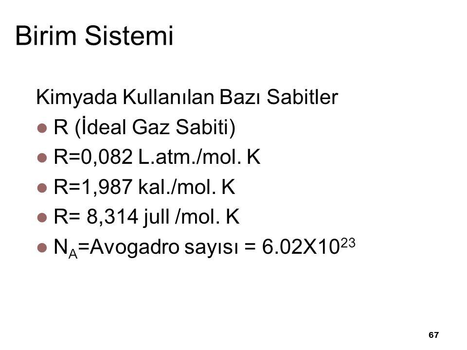 67 Birim Sistemi Kimyada Kullanılan Bazı Sabitler R (İdeal Gaz Sabiti) R=0,082 L.atm./mol.