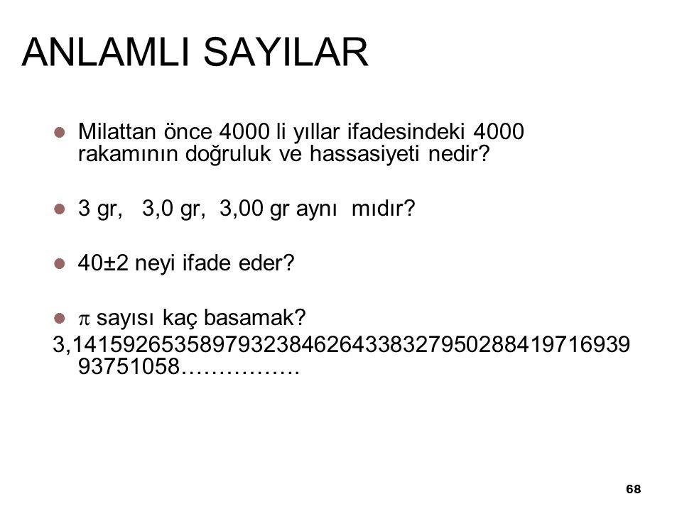 68 ANLAMLI SAYILAR Milattan önce 4000 li yıllar ifadesindeki 4000 rakamının doğruluk ve hassasiyeti nedir.