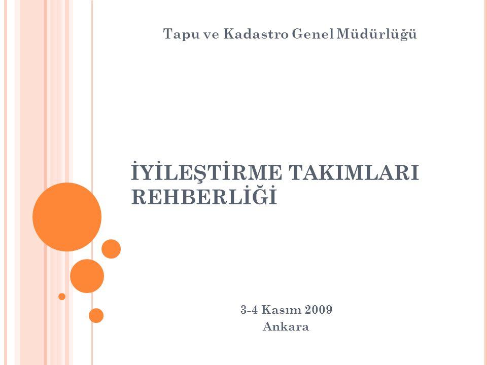 İYİLEŞTİRME TAKIMLARI REHBERLİĞİ 3-4 Kasım 2009 Ankara Tapu ve Kadastro Genel Müdürlüğü