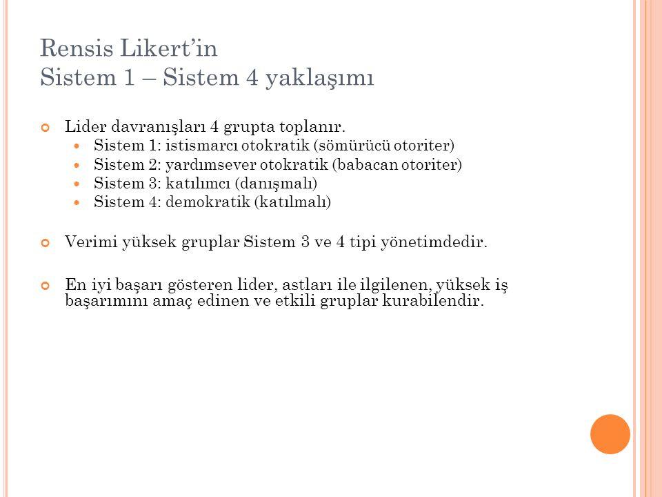 Rensis Likert'in Sistem 1 – Sistem 4 yaklaşımı Lider davranışları 4 grupta toplanır. Sistem 1: istismarcı otokratik (sömürücü otoriter) Sistem 2: yard