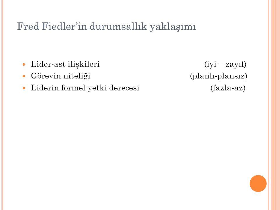 Fred Fiedler'in durumsallık yaklaşımı Lider-ast ilişkileri (iyi – zayıf) Görevin niteliği (planlı-plansız) Liderin formel yetki derecesi (fazla-az)
