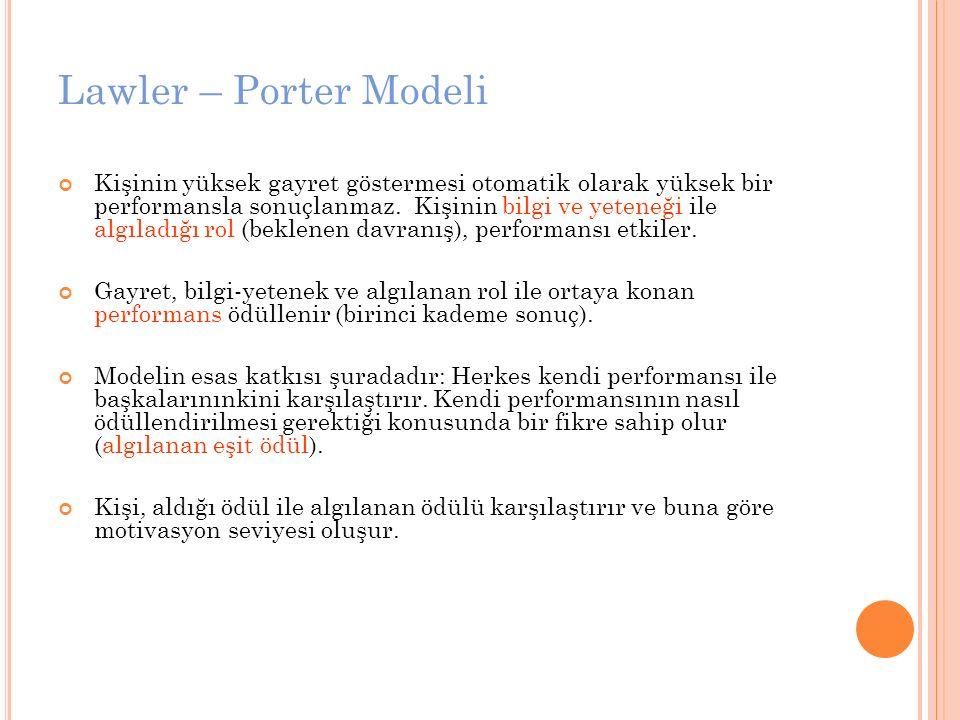 Lawler – Porter Modeli Kişinin yüksek gayret göstermesi otomatik olarak yüksek bir performansla sonuçlanmaz. Kişinin bilgi ve yeteneği ile algıladığı