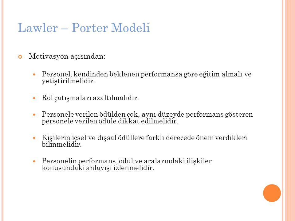 Lawler – Porter Modeli Motivasyon açısından: Personel, kendinden beklenen performansa göre eğitim almalı ve yetiştirilmelidir. Rol çatışmaları azaltıl