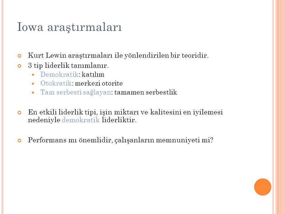 Iowa araştırmaları Kurt Lewin araştırmaları ile yönlendirilen bir teoridir. 3 tip liderlik tanımlanır. Demokratik: katılım Otokratik: merkezi otorite