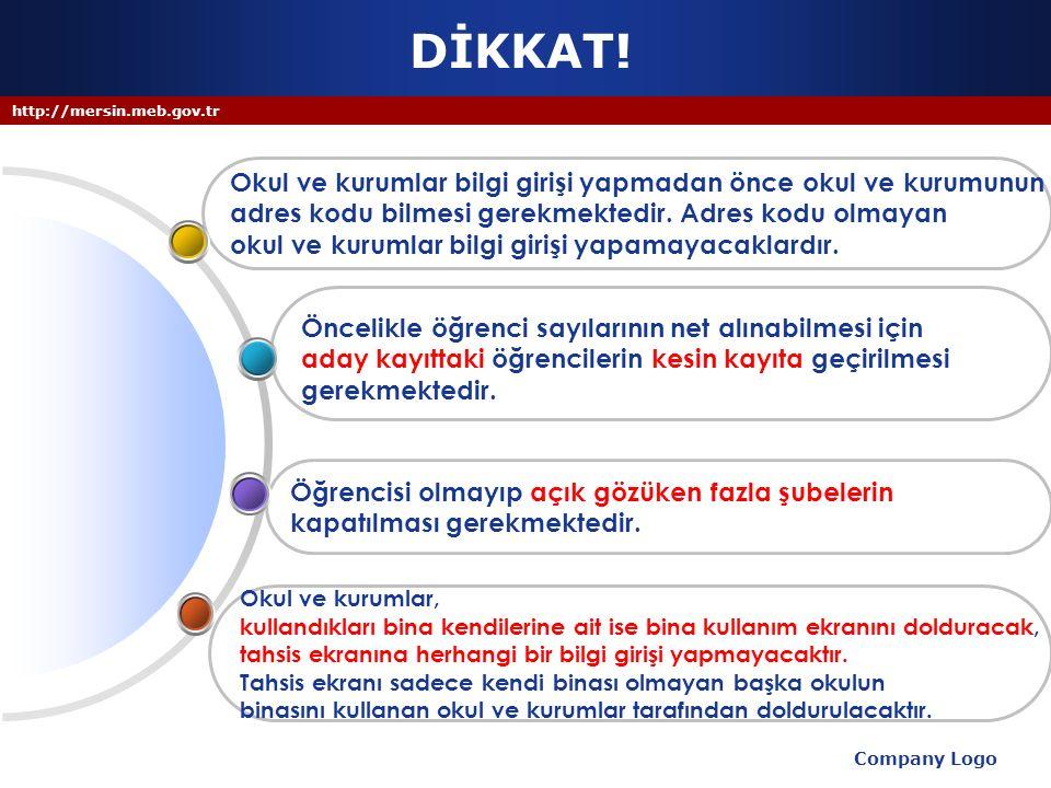http://mersin.meb.gov.tr MEİS MODÜLÜ 7- Bina kullanım ekranları güncellenirken derslik, anasınıfı olarak kullanılan derslik, spor salonu, kütüphane, laboratuvar v.b.