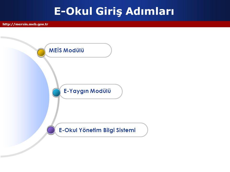 http://mersin.meb.gov.tr E-Okul Giriş Adımları E-Okul Yönetim Bilgi Sistemi E-Yaygın Modülü MEİS Modülü