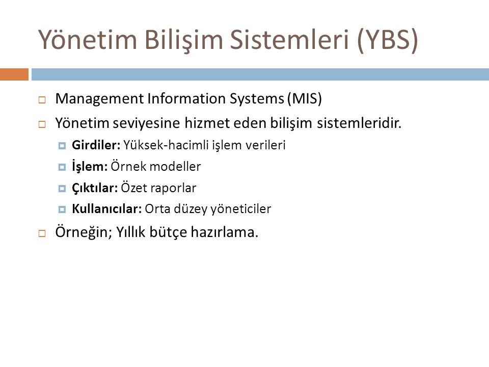 Yönetim Bilişim Sistemleri (YBS)  Management Information Systems (MIS)  Yönetim seviyesine hizmet eden bilişim sistemleridir.  Girdiler: Yüksek-hac