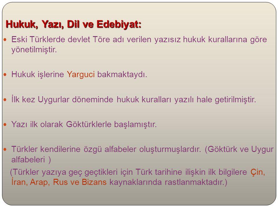 Hukuk, Yazı, Dil ve Edebiyat: Hukuk, Yazı, Dil ve Edebiyat: Eski Türklerde devlet Töre adı verilen yazısız hukuk kurallarına göre yönetilmiştir.