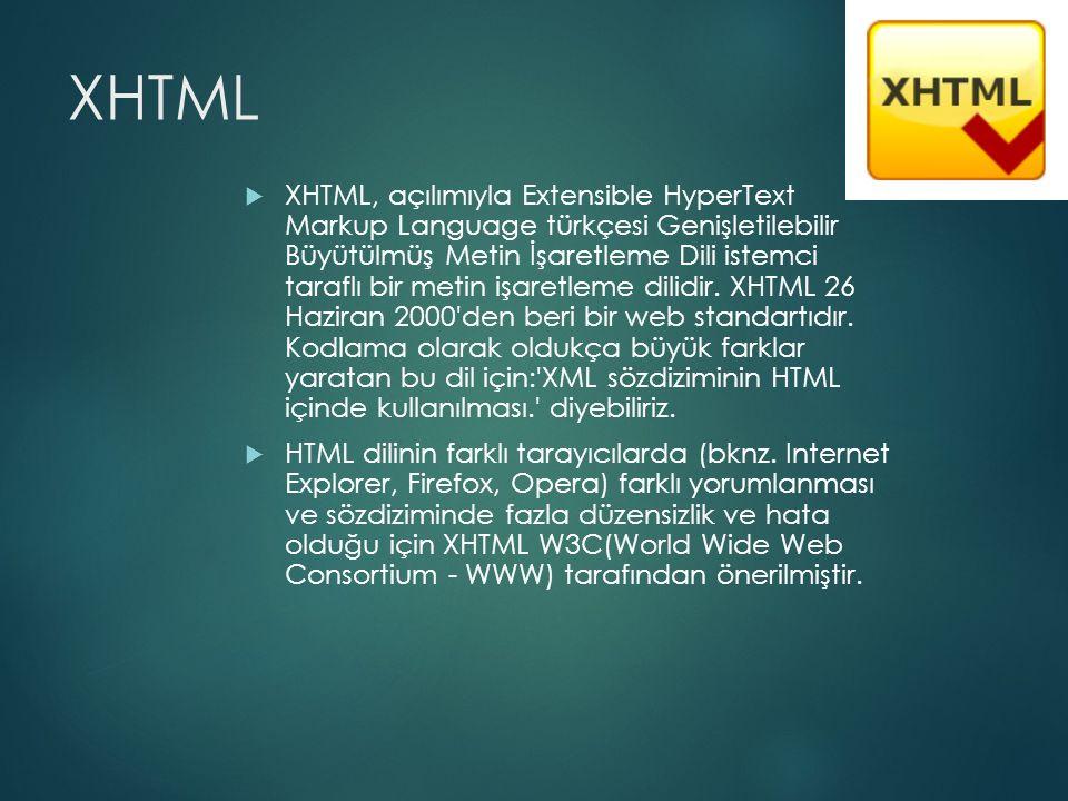 XHTML  XHTML, açılımıyla Extensible HyperText Markup Language türkçesi Genişletilebilir Büyütülmüş Metin İşaretleme Dili istemci taraflı bir metin iş
