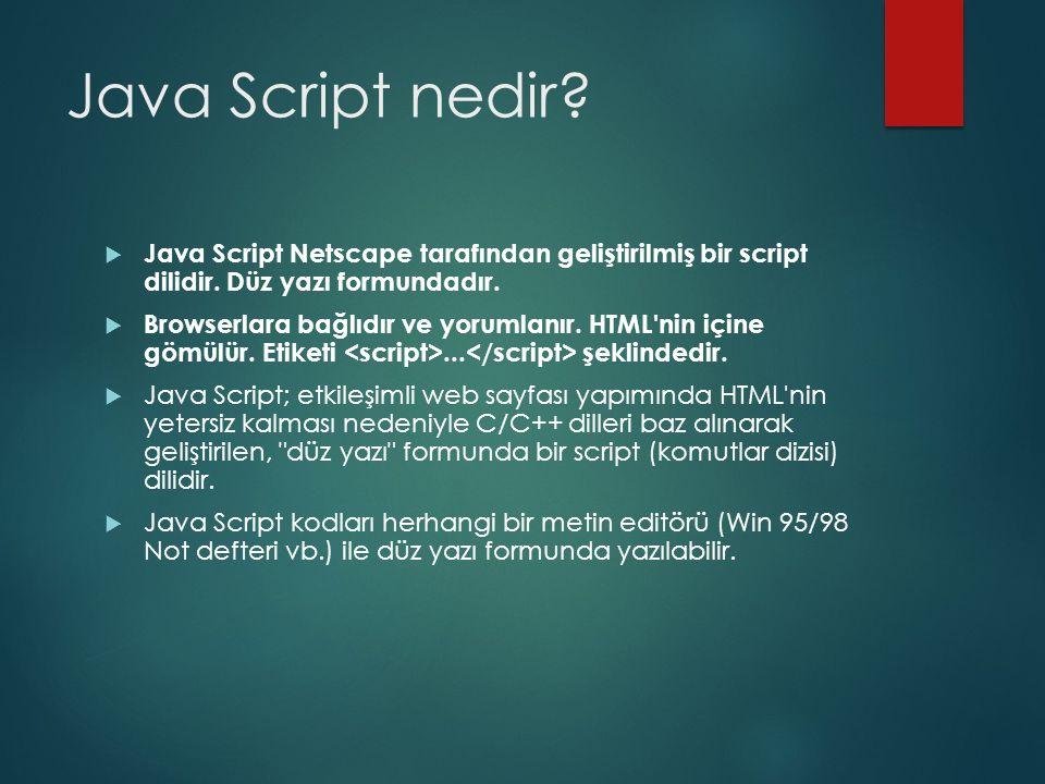 Java Script nedir?  Java Script Netscape tarafından geliştirilmiş bir script dilidir. Düz yazı formundadır.  Browserlara bağlıdır ve yorumlanır. HTM