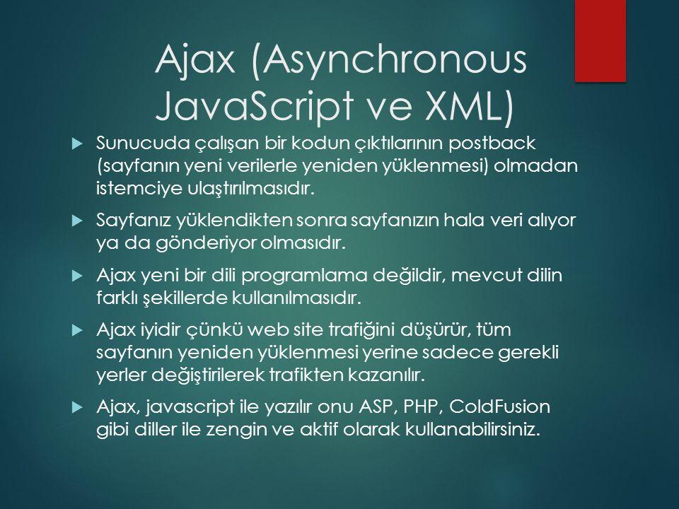 Ajax (Asynchronous JavaScript ve XML)  Sunucuda çalışan bir kodun çıktılarının postback (sayfanın yeni verilerle yeniden yüklenmesi) olmadan istemciy