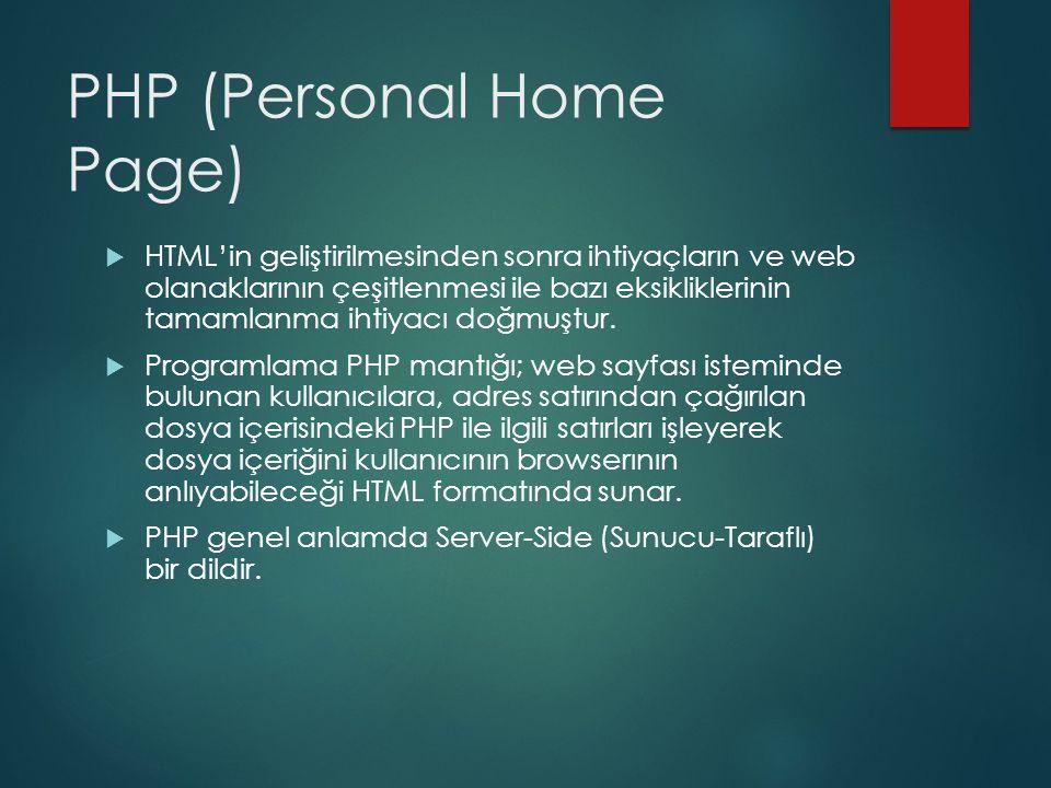 PHP (Personal Home Page)  HTML'in geliştirilmesinden sonra ihtiyaçların ve web olanaklarının çeşitlenmesi ile bazı eksikliklerinin tamamlanma ihtiyac