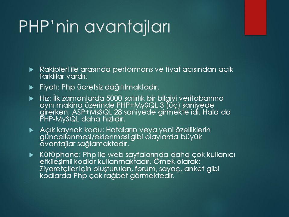 PHP'nin avantajları  Rakipleri ile arasında performans ve fiyat açısından açık farklılar vardır.  Fiyatı: Php ücretsiz dağıtılmaktadır.  Hız: İlk z