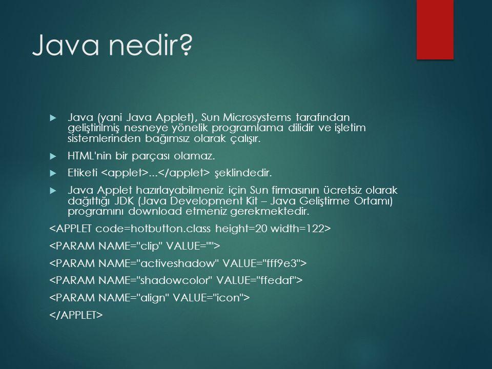 Java nedir?  Java (yani Java Applet), Sun Microsystems tarafından geliştirilmiş nesneye yönelik programlama dilidir ve işletim sistemlerinden bağımsı