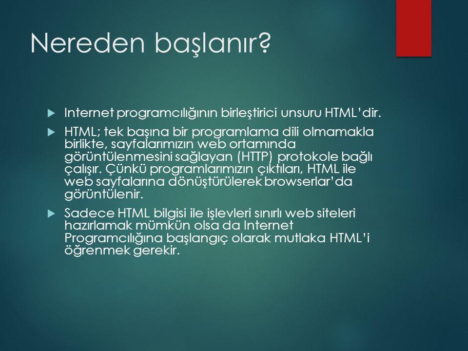 Nereden başlanır?  Internet programcılığının birleştirici unsuru HTML'dir.  HTML; tek başına bir programlama dili olmamakla birlikte, sayfalarımızın