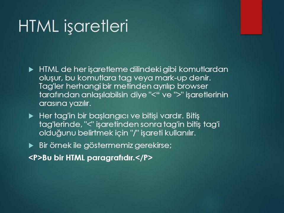 HTML işaretleri  HTML de her işaretleme dilindeki gibi komutlardan oluşur, bu komutlara tag veya mark-up denir. Tag'ler herhangi bir metinden ayrılıp