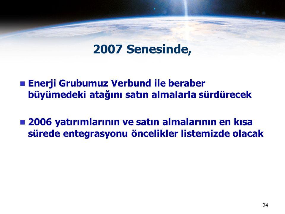 24 2007 Senesinde, Enerji Grubumuz Verbund ile beraber büyümedeki atağını satın almalarla sürdürecek 2006 yatırımlarının ve satın almalarının en kısa