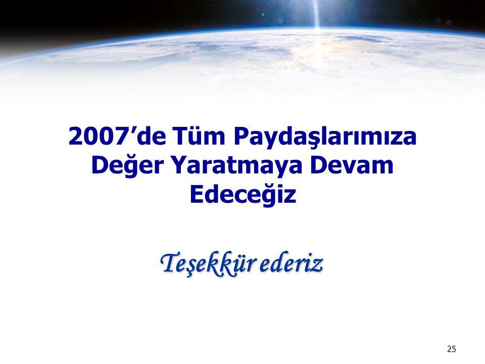 25 2007'de Tüm Paydaşlarımıza Değer Yaratmaya Devam Edeceğiz Teşekkür ederiz