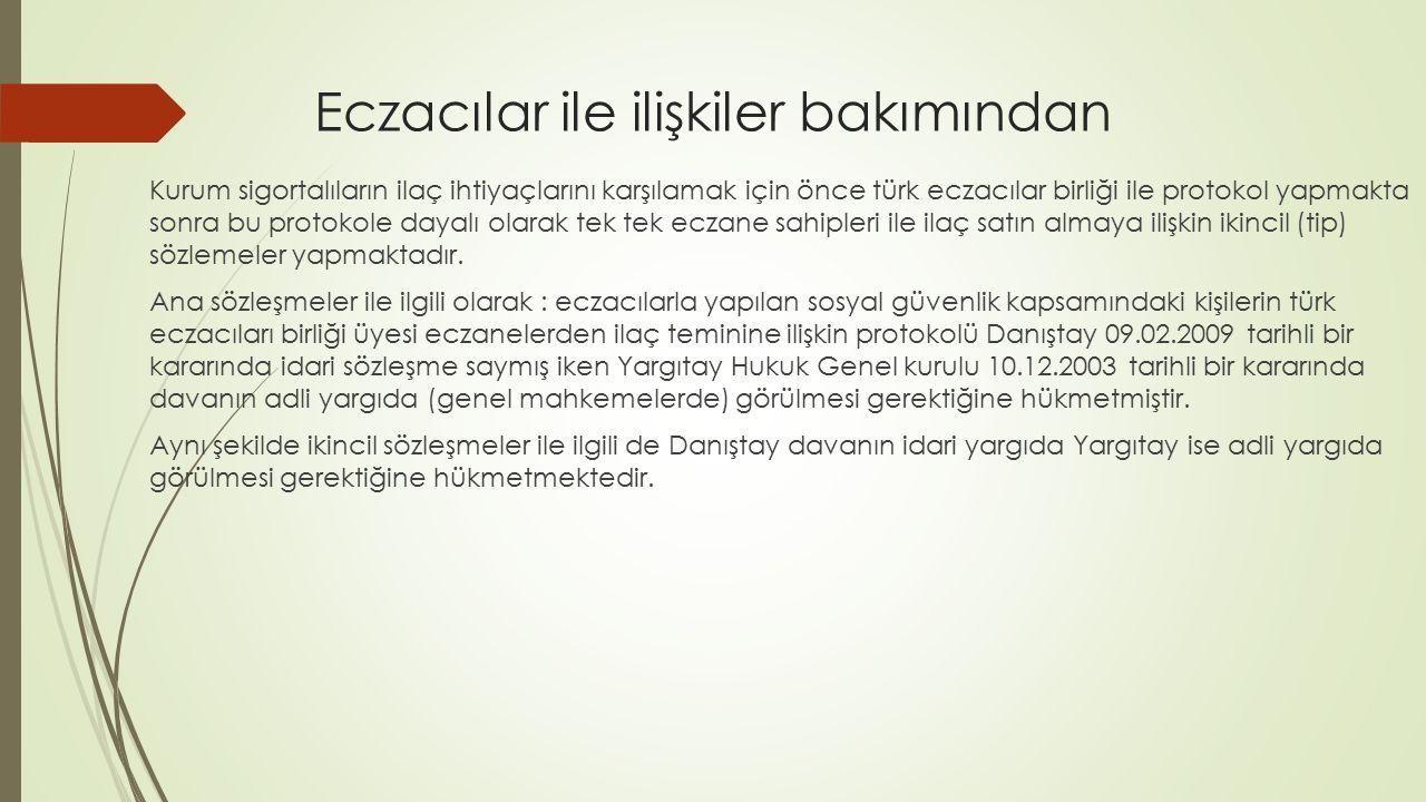 Eczacılar ile ilişkiler bakımından Kurum sigortalıların ilaç ihtiyaçlarını karşılamak için önce türk eczacılar birliği ile protokol yapmakta sonra bu