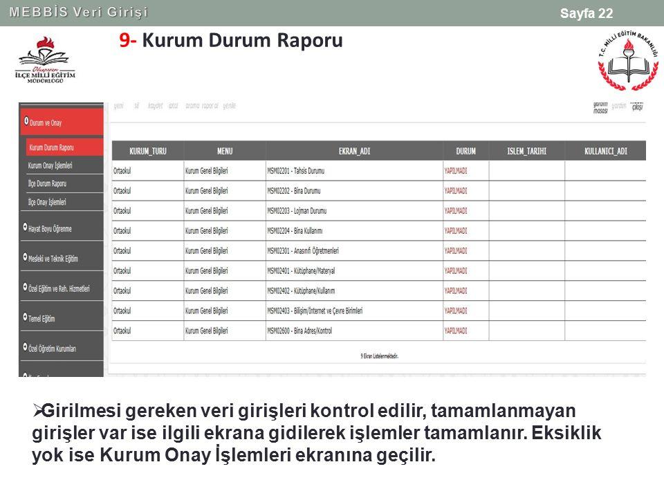 9- Kurum Durum Raporu Sayfa 22  Girilmesi gereken veri girişleri kontrol edilir, tamamlanmayan girişler var ise ilgili ekrana gidilerek işlemler tama