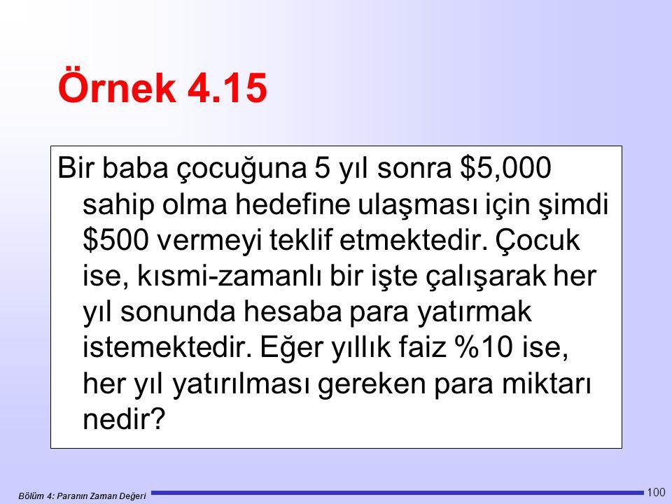 Bölüm 4: Paranın Zaman Değeri 100 Örnek 4.15 Bir baba çocuğuna 5 yıl sonra $5,000 sahip olma hedefine ulaşması için şimdi $500 vermeyi teklif etmektedir.