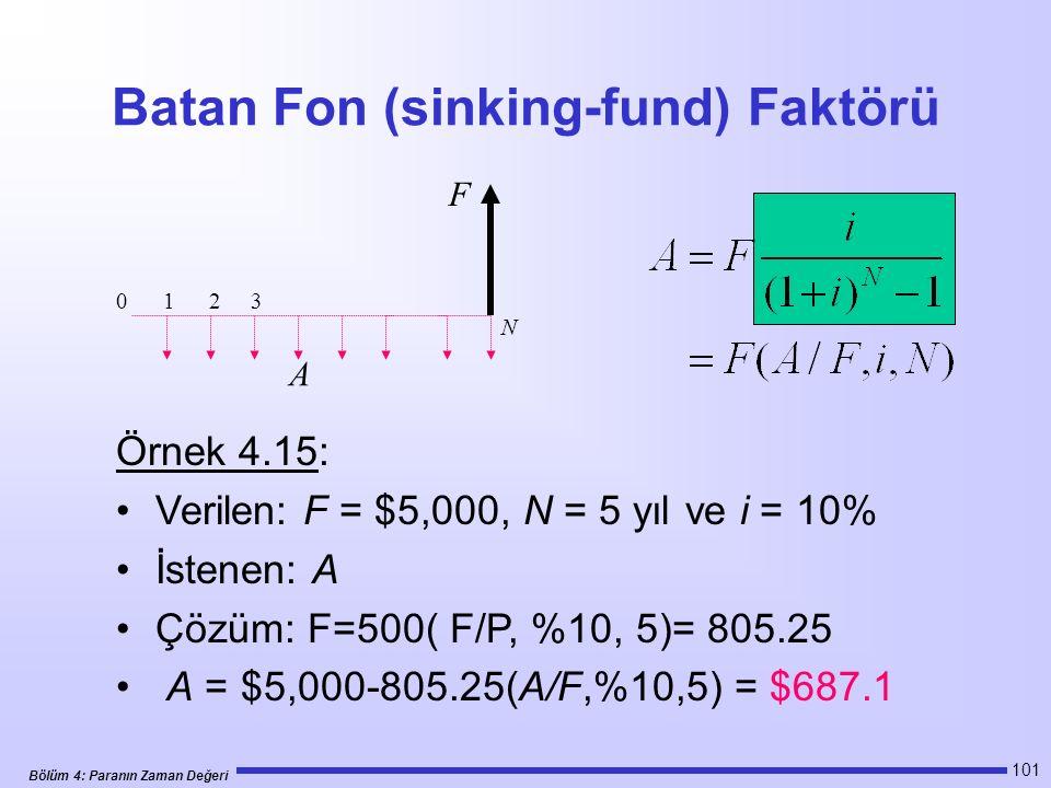 Bölüm 4: Paranın Zaman Değeri 101 Batan Fon (sinking-fund) Faktörü Örnek 4.15: Verilen: F = $5,000, N = 5 yıl ve i = 10% İstenen: A Çözüm: F=500( F/P, %10, 5)= 805.25 A = $5,000-805.25(A/F,%10,5) = $687.1 0 1 2 3 N F A