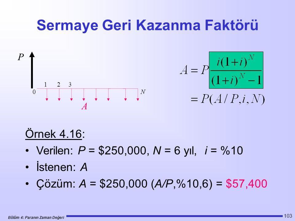Bölüm 4: Paranın Zaman Değeri 103 Sermaye Geri Kazanma Faktörü Örnek 4.16: Verilen: P = $250,000, N = 6 yıl, i = %10 İstenen: A Çözüm: A = $250,000 (A/P,%10,6) = $57,400 1 2 3 N P A 0