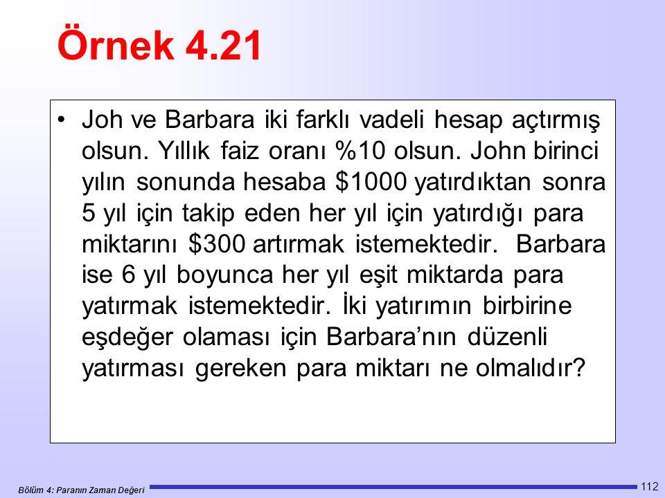 Bölüm 4: Paranın Zaman Değeri 112 Örnek 4.21 Joh ve Barbara iki farklı vadeli hesap açtırmış olsun.