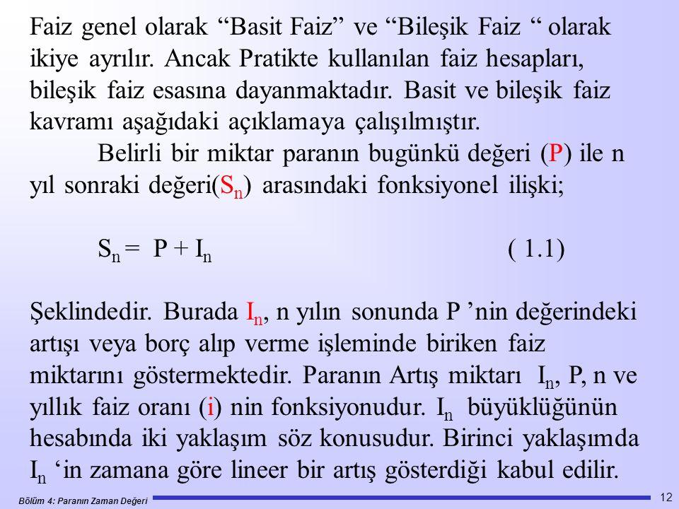 Bölüm 4: Paranın Zaman Değeri 12 Faiz genel olarak Basit Faiz ve Bileşik Faiz olarak ikiye ayrılır.