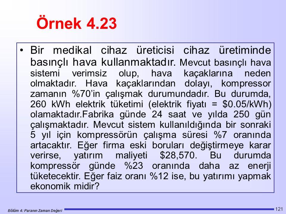 Bölüm 4: Paranın Zaman Değeri 121 Bir medikal cihaz üreticisi cihaz üretiminde basınçlı hava kullanmaktadır.