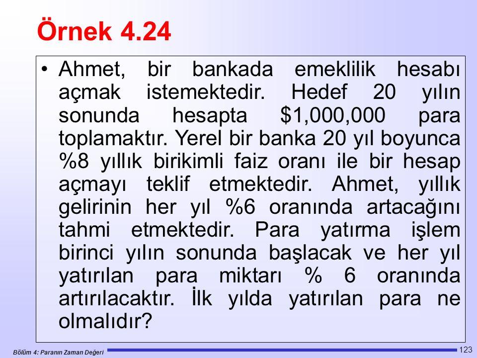 Bölüm 4: Paranın Zaman Değeri 123 Ahmet, bir bankada emeklilik hesabı açmak istemektedir.
