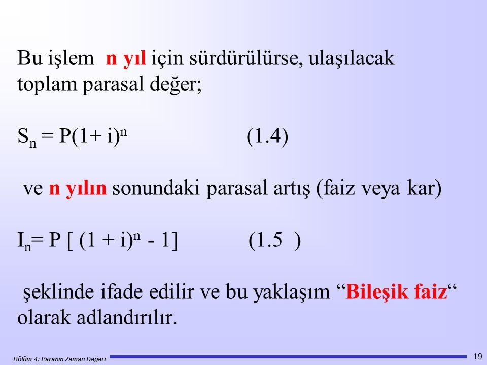 Bölüm 4: Paranın Zaman Değeri Bu işlem n yıl için sürdürülürse, ulaşılacak toplam parasal değer; S n = P(1+ i) n (1.4) ve n yılın sonundaki parasal artış (faiz veya kar) I n = P [ (1 + i) n - 1] (1.5 ) şeklinde ifade edilir ve bu yaklaşım Bileşik faiz olarak adlandırılır.