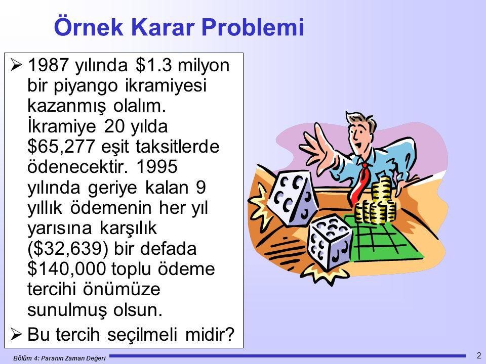 Bölüm 4: Paranın Zaman Değeri 2 Örnek Karar Problemi  1987 yılında $1.3 milyon bir piyango ikramiyesi kazanmış olalım.