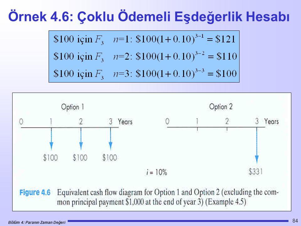 Bölüm 4: Paranın Zaman Değeri 84 Örnek 4.6: Çoklu Ödemeli Eşdeğerlik Hesabı