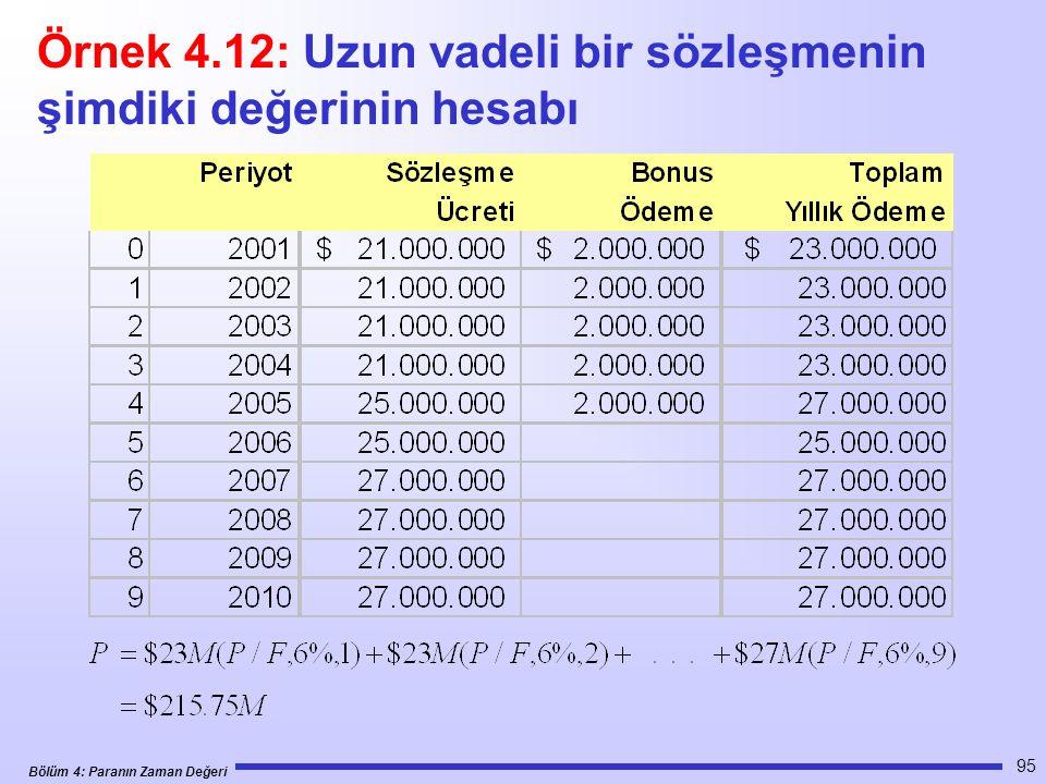 Bölüm 4: Paranın Zaman Değeri 95 Örnek 4.12: Uzun vadeli bir sözleşmenin şimdiki değerinin hesabı
