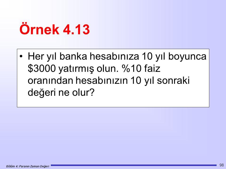 Bölüm 4: Paranın Zaman Değeri 98 Örnek 4.13 Her yıl banka hesabınıza 10 yıl boyunca $3000 yatırmış olun.
