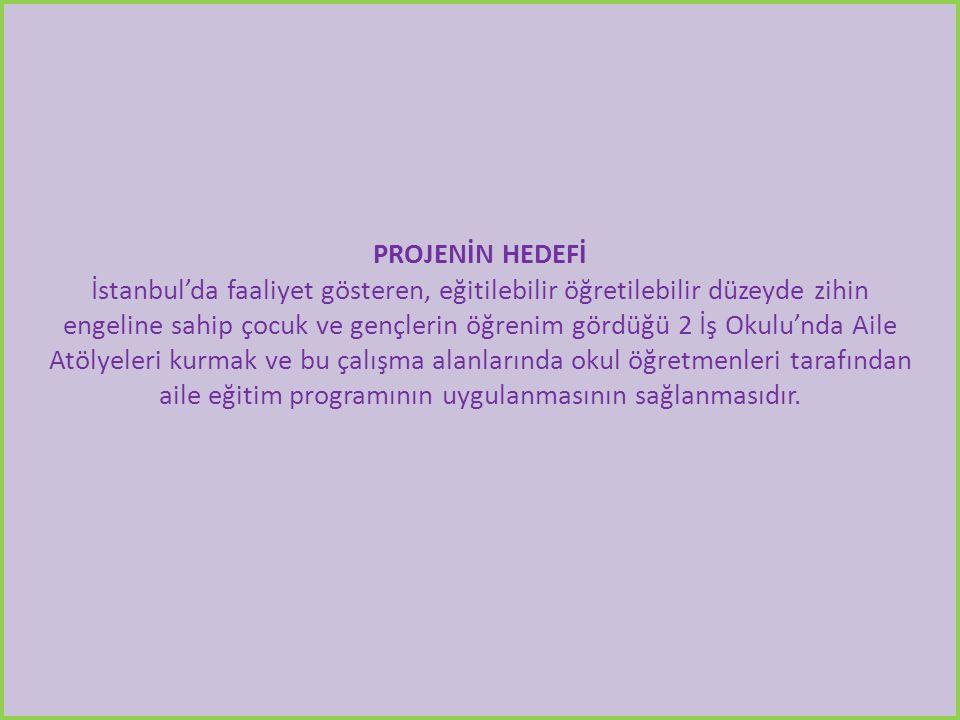 PROJENİN HEDEFİ İstanbul'da faaliyet gösteren, eğitilebilir öğretilebilir düzeyde zihin engeline sahip çocuk ve gençlerin öğrenim gördüğü 2 İş Okulu'nda Aile Atölyeleri kurmak ve bu çalışma alanlarında okul öğretmenleri tarafından aile eğitim programının uygulanmasının sağlanmasıdır.