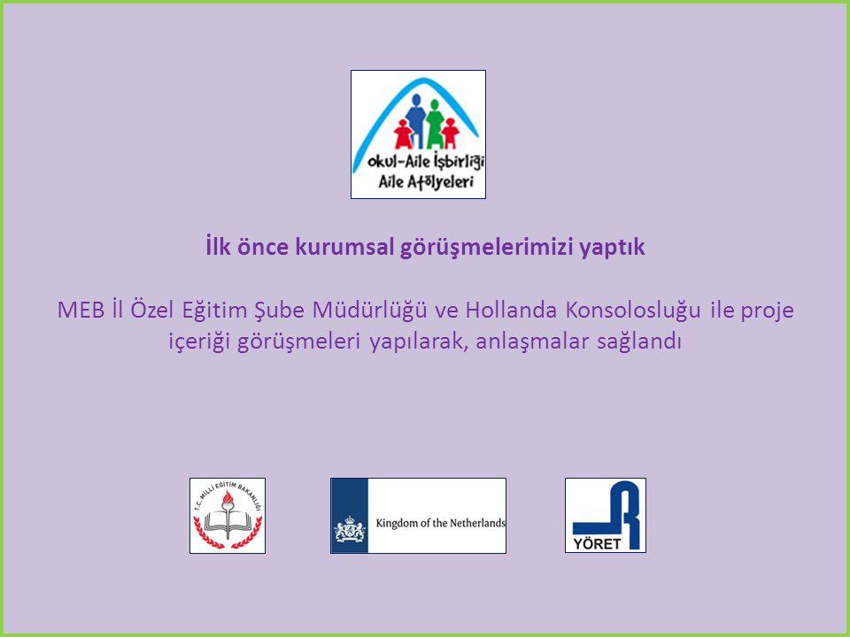 İlk önce kurumsal görüşmelerimizi yaptık MEB İl Özel Eğitim Şube Müdürlüğü ve Hollanda Konsolosluğu ile proje içeriği görüşmeleri yapılarak, anlaşmalar sağlandı