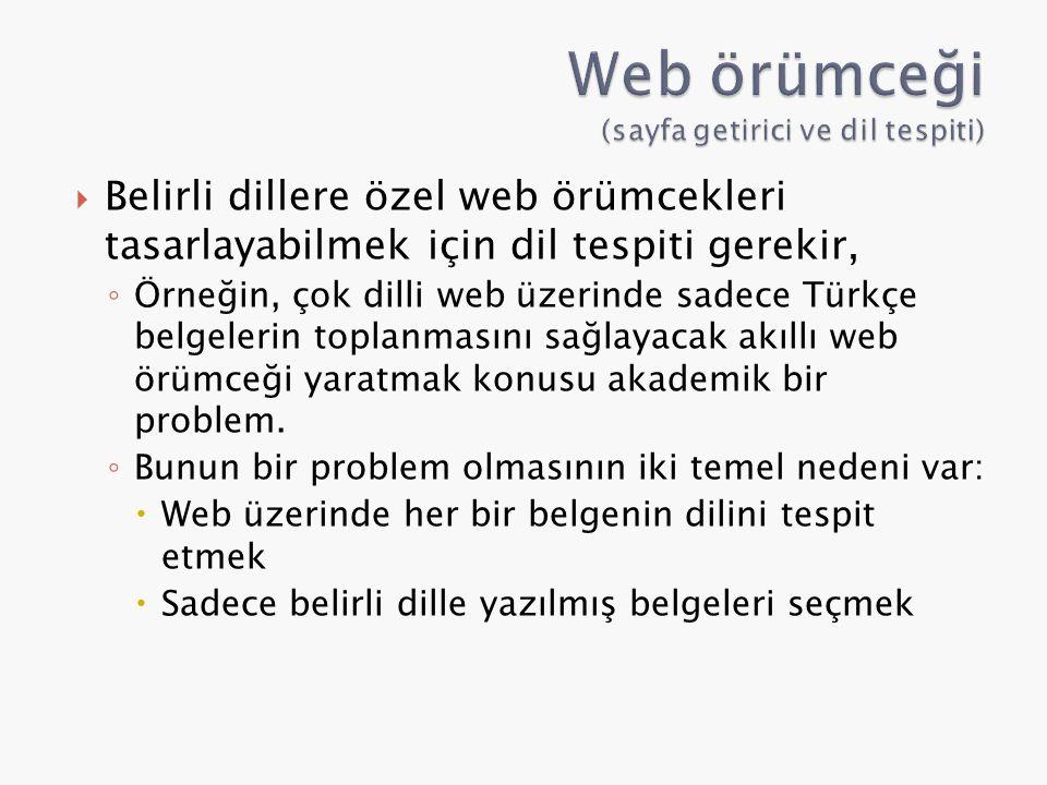 Belirli dillere özel web örümcekleri tasarlayabilmek için dil tespiti gerekir, ◦ Örneğin, çok dilli web üzerinde sadece Türkçe belgelerin toplanması