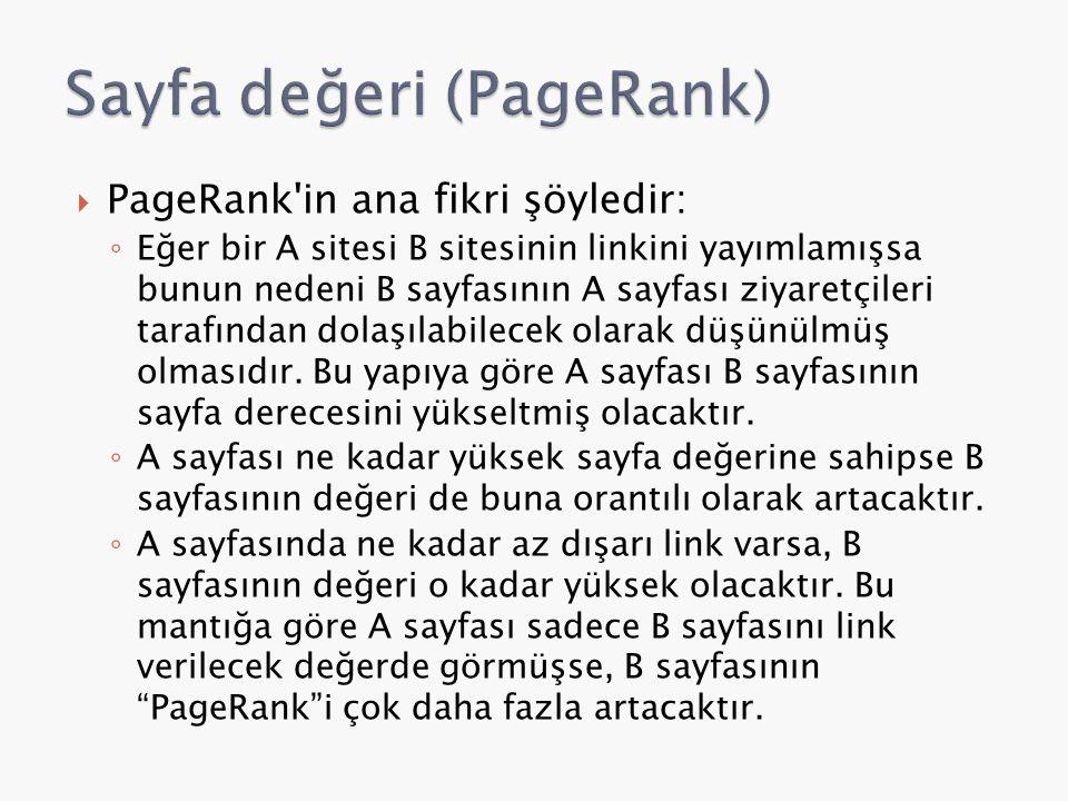  PageRank'in ana fikri şöyledir: ◦ Eğer bir A sitesi B sitesinin linkini yayımlamışsa bunun nedeni B sayfasının A sayfası ziyaretçileri tarafından do