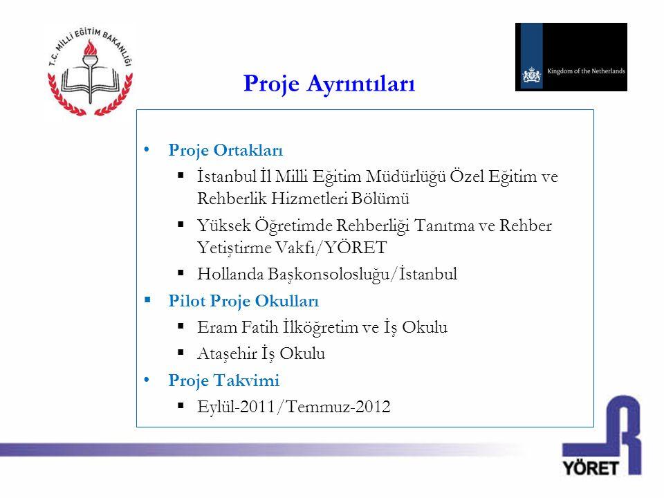Proje Ayrıntıları Proje Ortakları  İstanbul İl Milli Eğitim Müdürlüğü Özel Eğitim ve Rehberlik Hizmetleri Bölümü  Yüksek Öğretimde Rehberliği Tanıtm