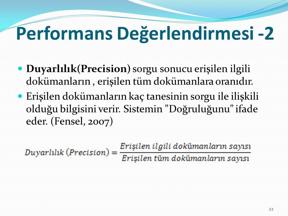 Performans Değerlendirmesi -2 Duyarlılık(Precision) sorgu sonucu erişilen ilgili dokümanların, erişilen tüm dokümanlara oranıdır. Erişilen dokümanları