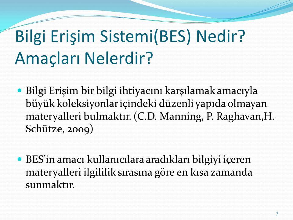 Bilgi Erişim Sistemi(BES) Nedir? Amaçları Nelerdir? Bilgi Erişim bir bilgi ihtiyacını karşılamak amacıyla büyük koleksiyonlar içindeki düzenli yapıda