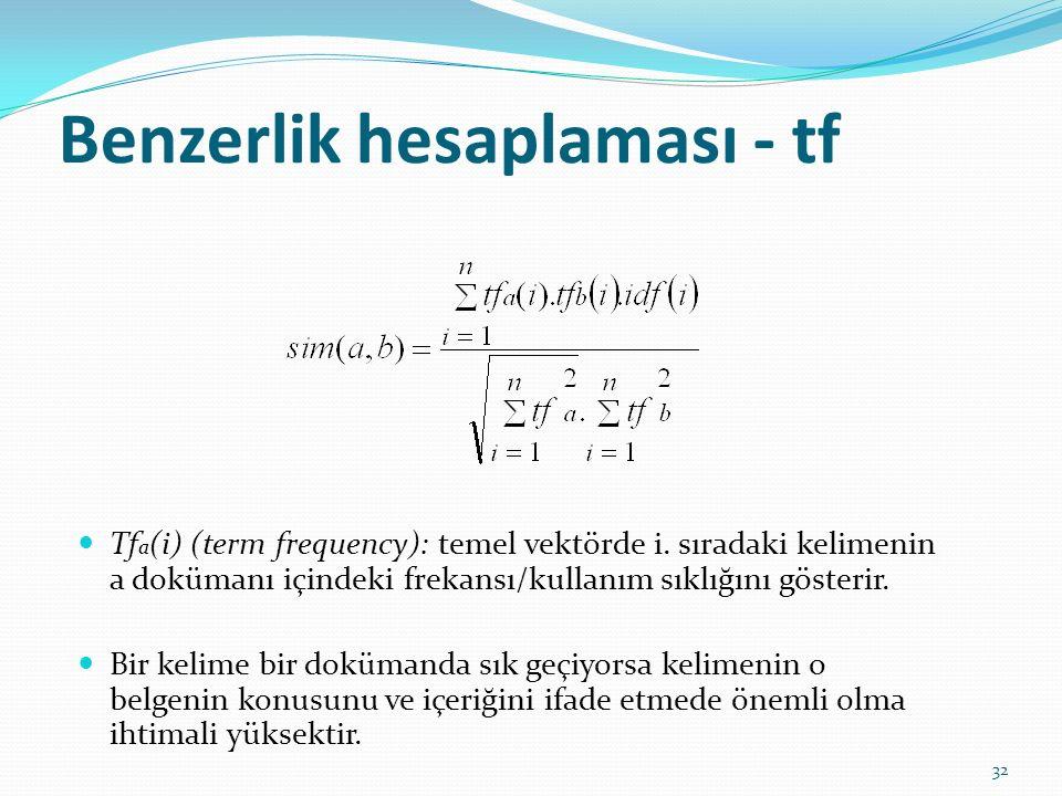 Benzerlik hesaplaması - tf Tf a (i) (term frequency): temel vektörde i. sıradaki kelimenin a dokümanı içindeki frekansı/kullanım sıklığını gösterir. B