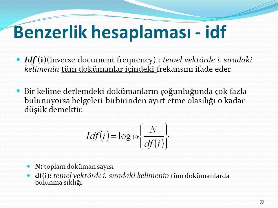 Benzerlik hesaplaması - idf Idf (i)(inverse document frequency) : temel vektörde i. sıradaki kelimenin tüm dokümanlar içindeki frekansını ifade eder.