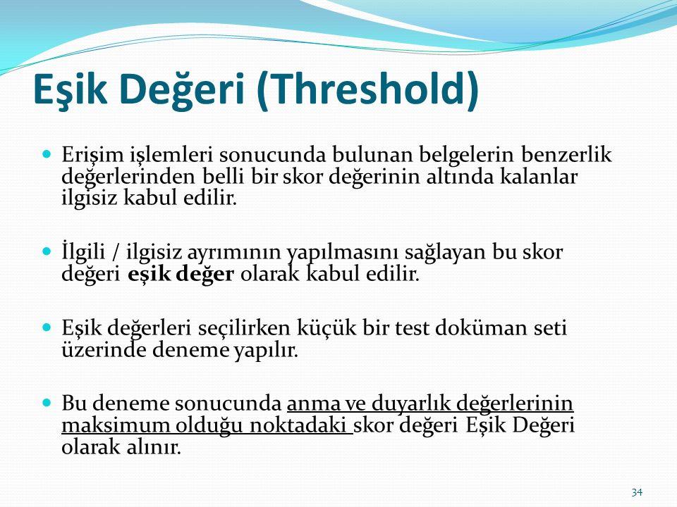 Eşik Değeri (Threshold) Erişim işlemleri sonucunda bulunan belgelerin benzerlik değerlerinden belli bir skor değerinin altında kalanlar ilgisiz kabul