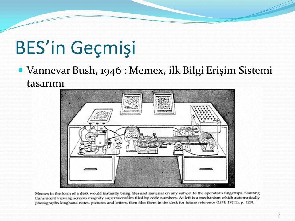 BES'in Geçmişi Vannevar Bush, 1946 : Memex, ilk Bilgi Erişim Sistemi tasarımı 7