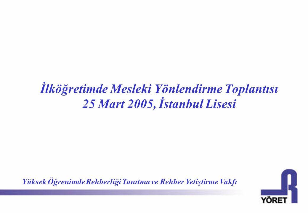 İlköğretimde Mesleki Yönlendirme Toplantısı 25 Mart 2005, İstanbul Lisesi Yüksek Öğrenimde Rehberliği Tanıtma ve Rehber Yetiştirme Vakfı