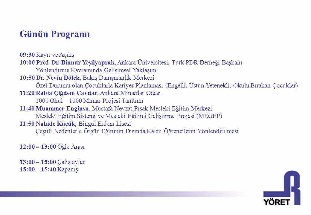 Günün Programı 09:30 Kayıt ve Açılış 10:00 Prof.Dr.